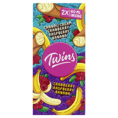 3 1 416x416 - TWINS №1 Cannoli Cream,сranberry,raspberry,banana & Cranberry,raspberry,banana 2*60ml 0mg